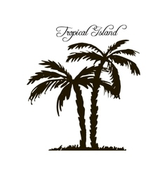 Tropical island palm tree silhouettes vector