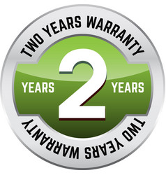 Two years warranty shiny button vector