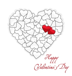 Valentines Day card two red and many white hearts vector
