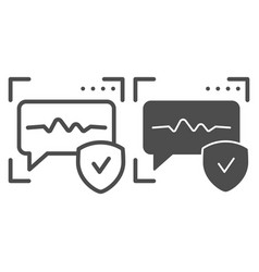Voice recognition line and glyph icon sound vector