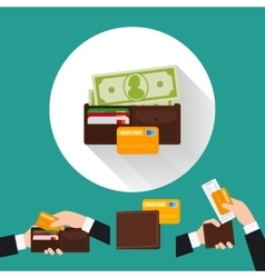 Wallet flat icon with card and cash vector
