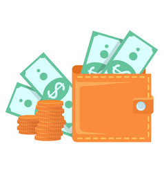 Wallet full money stack gold coins vector