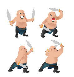 warrior old man character fight vector image
