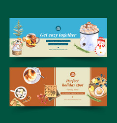 Winters home banner design with marshmallow vector