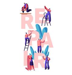 worker character make repair apartment poster vector image