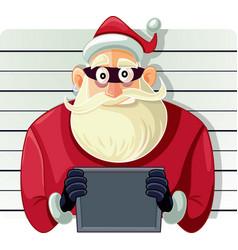 Bad santa police mugshot cartoon vector