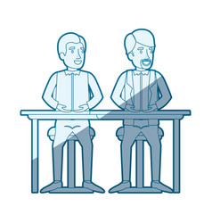 Blue shading silhouette with men sitting in desk vector