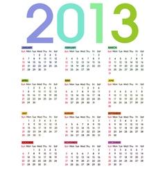 calendar 2013 2 vector image vector image