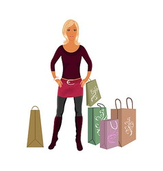 fashion shopping girl with bags vector image vector image