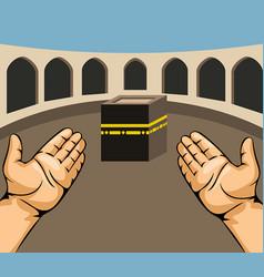 Praying hands on kaaba vector
