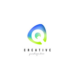 q letter logo design with oval green blue shape vector image vector image
