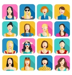 Set of Women Avatars Icons Colorful Female Faces vector image