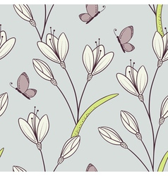 Stylized seamless pattern with flowers vector image