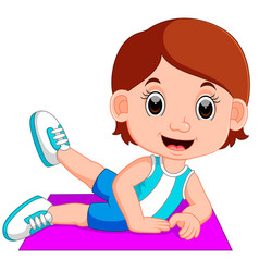 Woman stretching before doing yoga vector