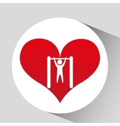 Bar hanging athlete silhouette heart vector