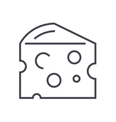 cheese line icon sign on vector image