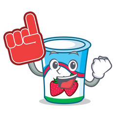 foam finger yogurt mascot cartoon style vector image vector image