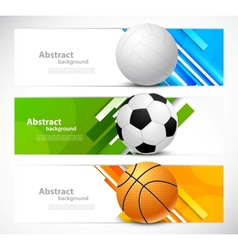 Set of banners with sport balls vector image