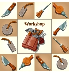 Set of tools piercing and cutting instruments vector image vector image