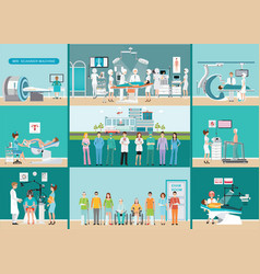 doctors and patients in hospitals vector image