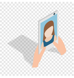 girl taking selfie photo on smartphone isometric vector image