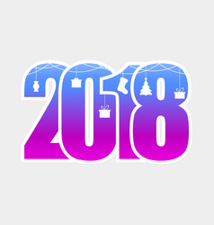 happy new year 2018 numbers with hanging vector image