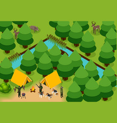 isometric colored hunting composition vector image