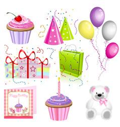 set of birthday icons vector image