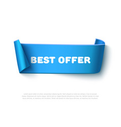 blue curved paper ribbon banner with rolls vector image vector image
