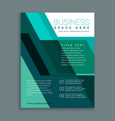 Geometric business brochure design in turquoise vector
