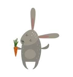Greeting card rabbit bunny with carrot vector image