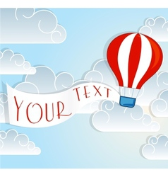 Hot air balloon sign with text banner vector image vector image