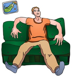 Man on sofa vector