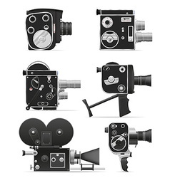 old retro vintage movie video camera 06 vector image vector image