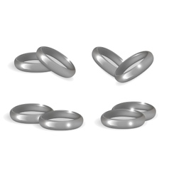 Realistic wedding silver rings set 3d bands vector image