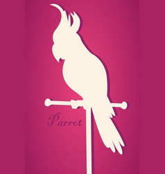 silhouette of bird parrot on perch pape vector image