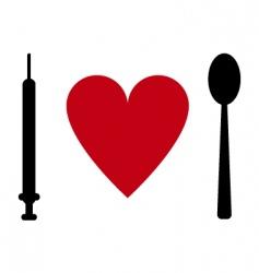 syringe heart spoon vector image vector image