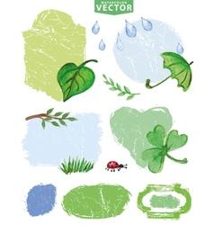 Watercolor Spring labels setGreen vector image vector image