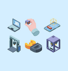 3d printing technology electronic smart robots vector image