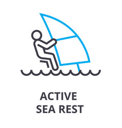 Active sea rest thin line icon sign symbol vector