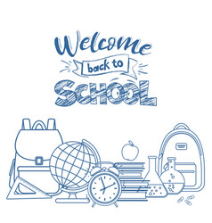 Back to school line icons vector