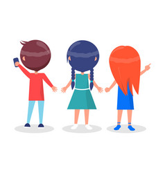 Back view on best friends girls and boy isolated vector