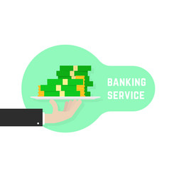 Banking service with hand holding money vector