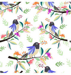beautiful bird on branch with flower seamless vector image