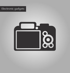 Black and white style icon camera vector