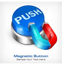 Blue button with magnet vector image