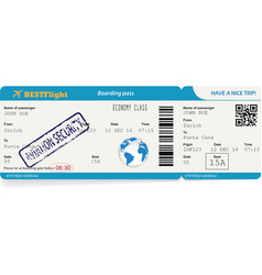 Boarding pass ticket for traveling by plane vector