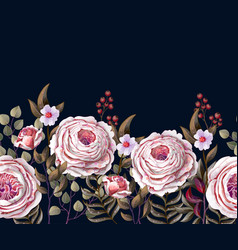 border with english pink roses vector image