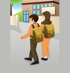 boy and muslim girl students walking to school vector image