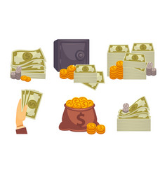 bundles of money and stacks of coins vector image